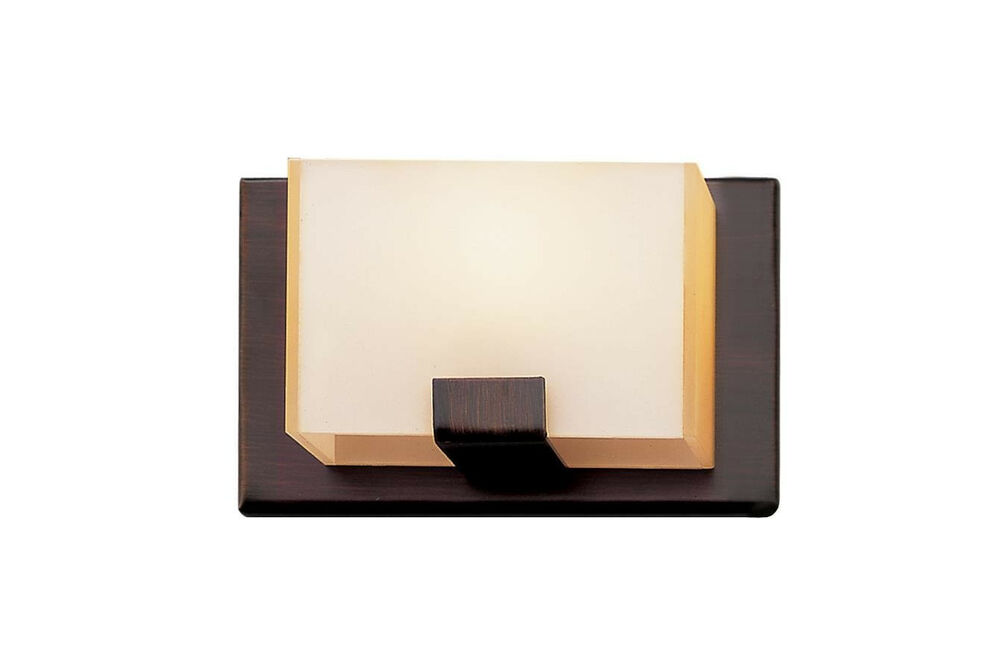 Halogen Bathroom Wall Sconces : Rubbed Oil Bronze And Acrylic Cube 1 Light Halogen Bath/Wall Sconce eBay