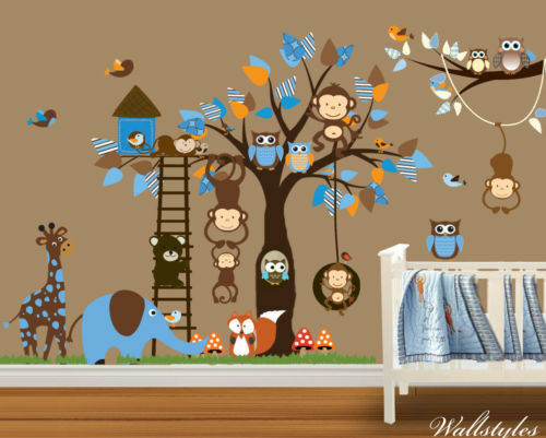 Owl wall stickers monkey animal jungle zoo tree nursery for Baby jungle mural