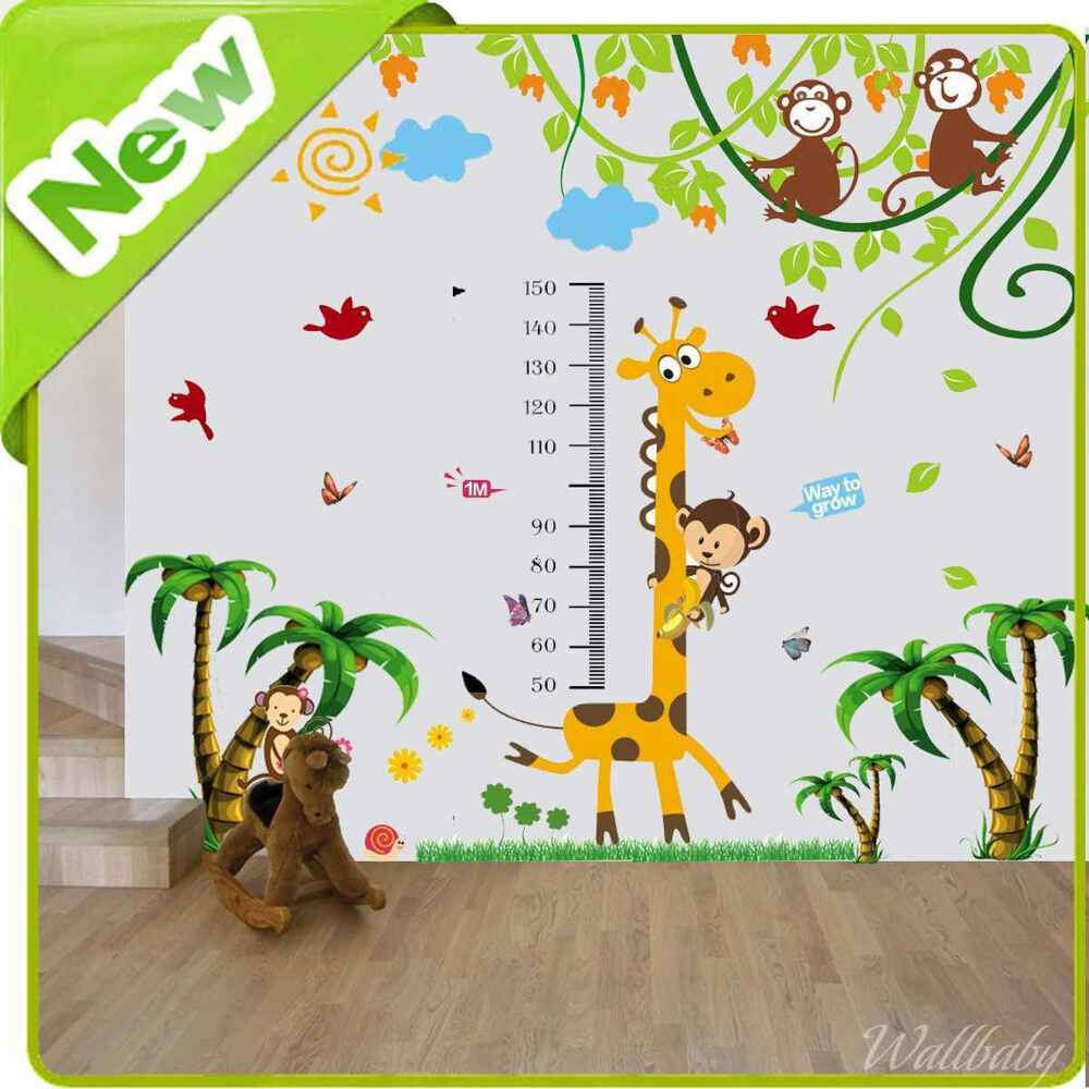 Giraffe height chart wall stickers nursery baby jungle for Baby jungle mural