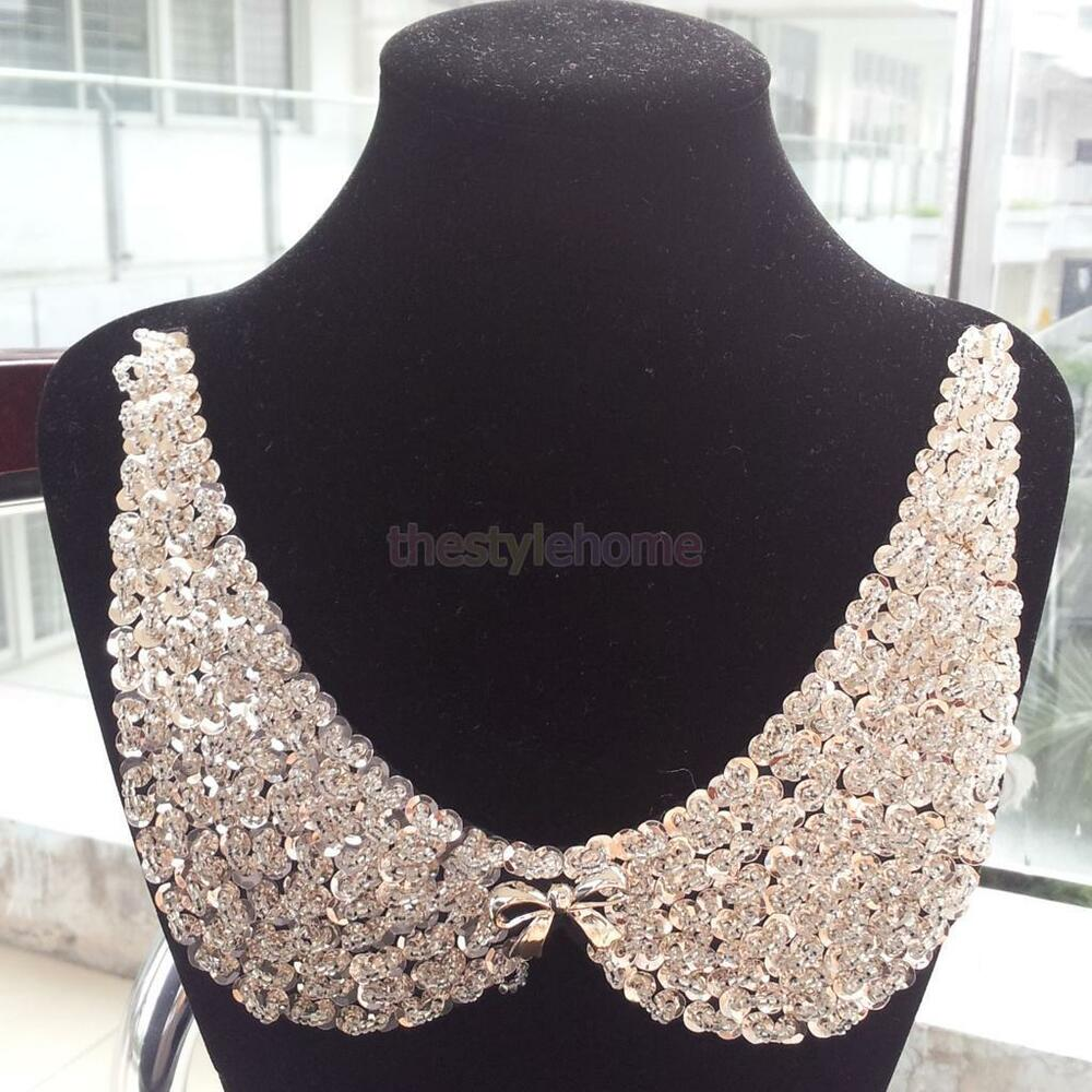 Rose gold sequined beads rhinestone bowknot decor collar for Advanced molding and decoration s a de c v