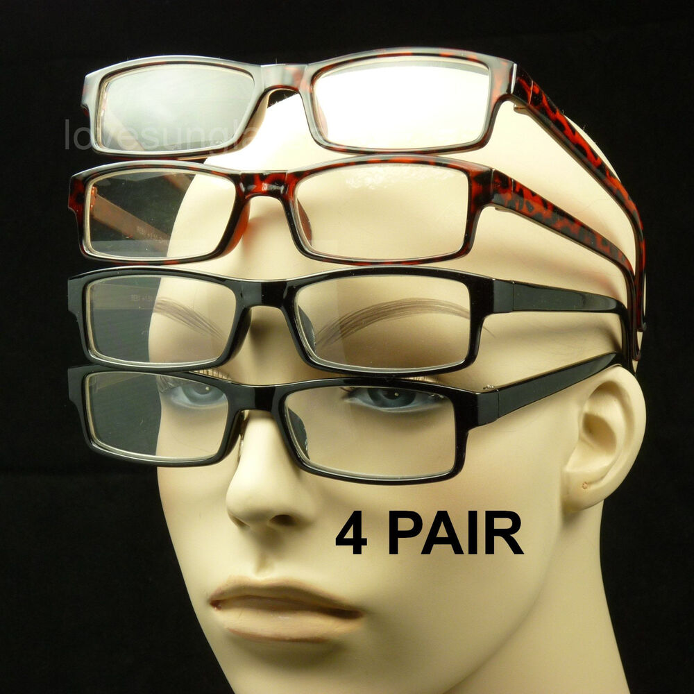 4 pair lot reading glasses clear lens new