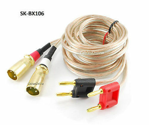 6ft cablesonline 14awg speaker wire pair banana plug to xlr plugs audio cables ebay. Black Bedroom Furniture Sets. Home Design Ideas