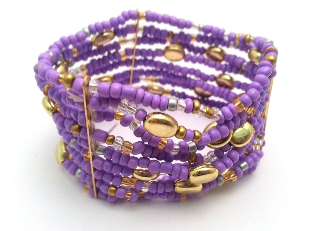 purple beaded elastic bangle bracelet fashion jewelry ebay