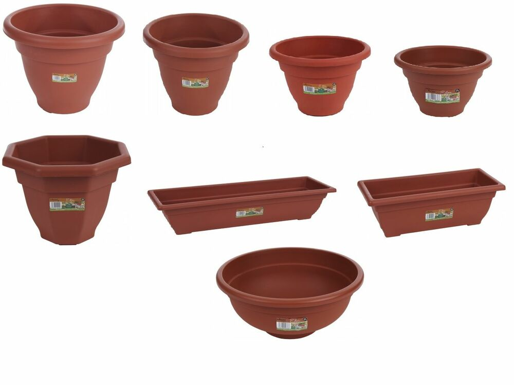 plastic terracota garden pots large small planters ebay. Black Bedroom Furniture Sets. Home Design Ideas