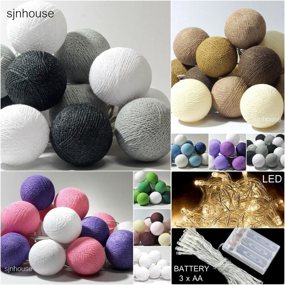 20 led battery powered cotton ball fairy string lights. Black Bedroom Furniture Sets. Home Design Ideas