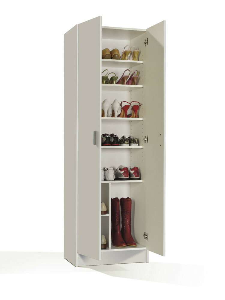Tall wide white storage shoe utility bookcase cupboard shelf shelves shelfing ebay - Armario zapatero ...