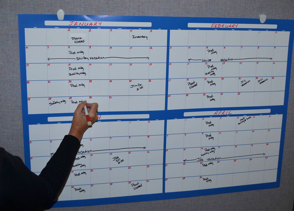 Eraseable 4 Month Wall Calendar Large With Marker(write On
