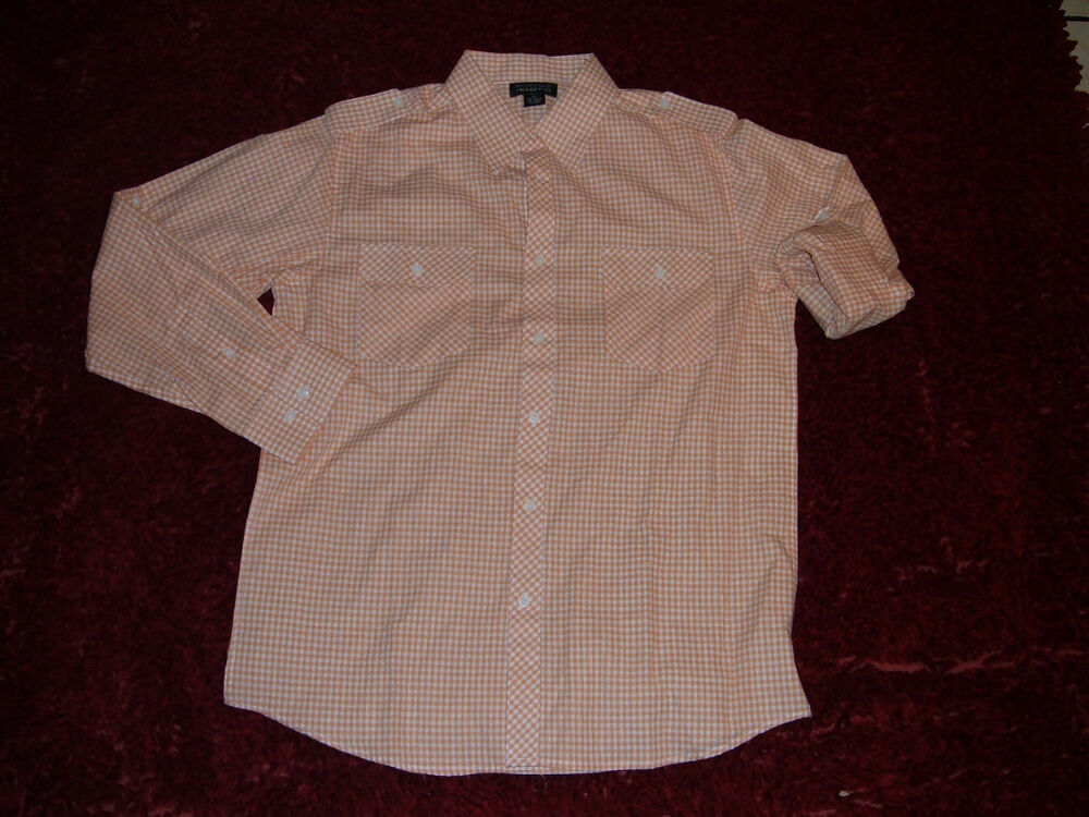 Mens Orange White Long Sleeve Button Up Shirt Roll Up