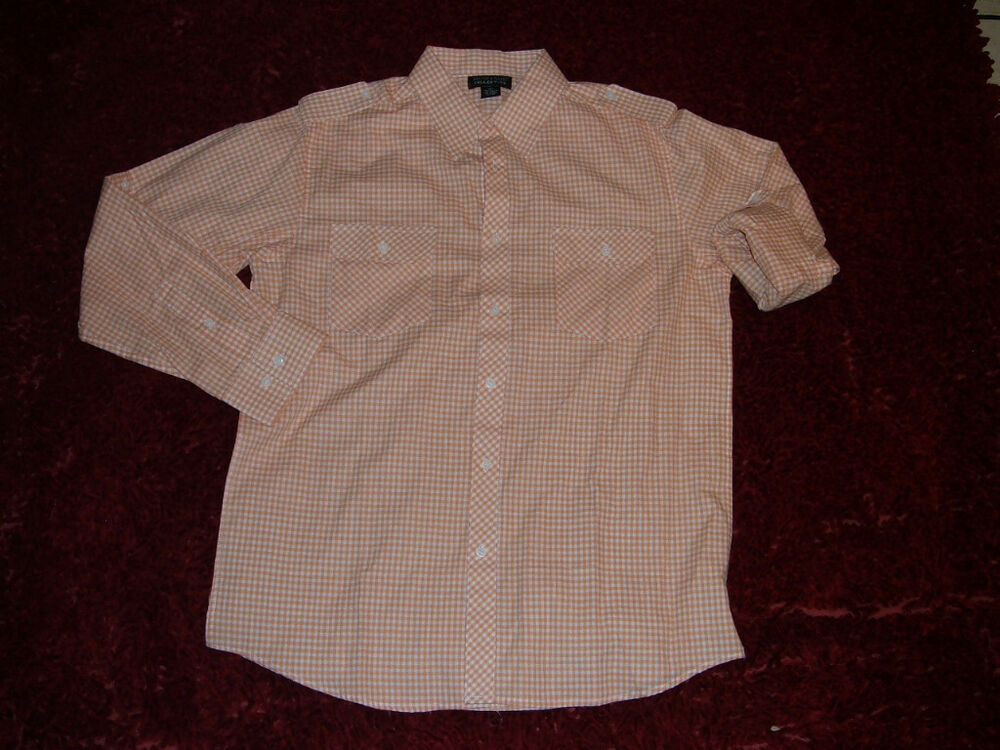 Mens orange white long sleeve button up shirt roll up for Guys button up shirts