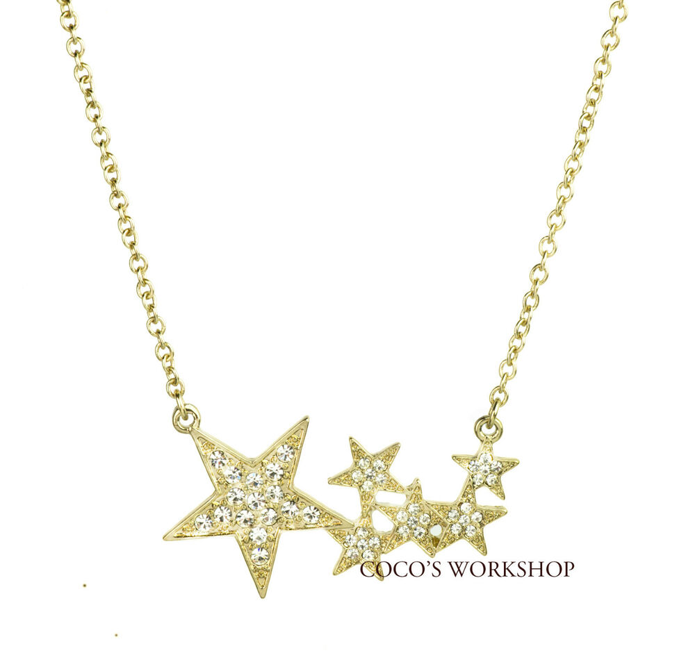QUALITY GOLD CRYSTAL LUCKY STAR GALAXY PENDANT CHAIN ...