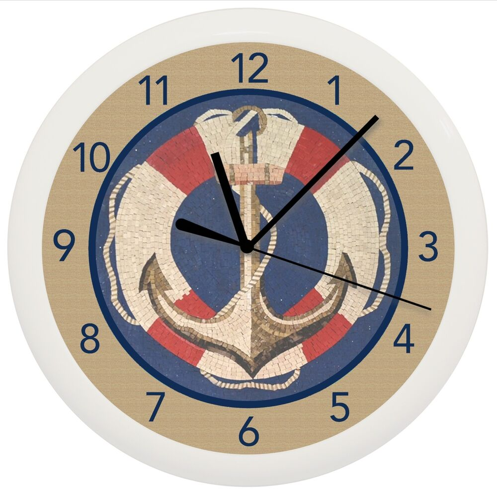 Nautical anchor wall clock gift decor personalized ship for Where can i buy nautical decor