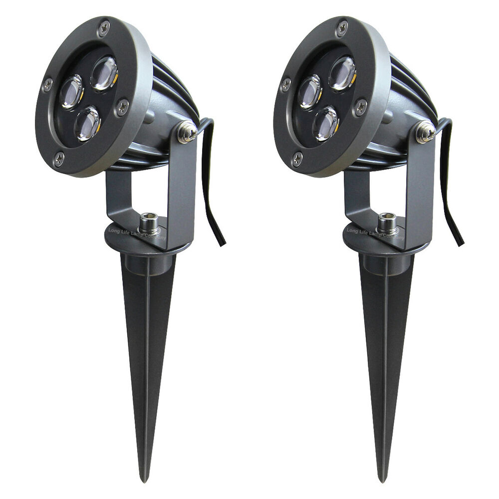 2 x metal led garden spike light kit 12v 3w led per spike for 12v garden lights
