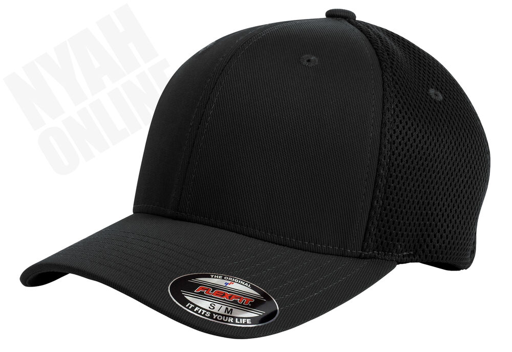 10c92df716eb5 NEW BLACK PLAIN FLEXFIT MESH CAP FITTED BASEBALL FLEXIFIT PEAK HAT SIZE  L-XL