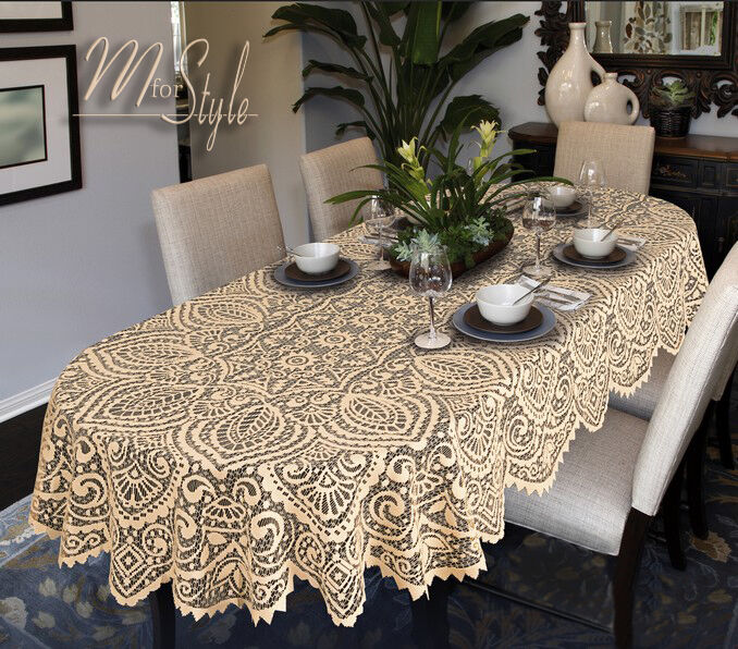 Oval Round Lace Tablecloth White or Beige Large Premium  : s l1000 from www.ebay.com size 678 x 596 jpeg 127kB
