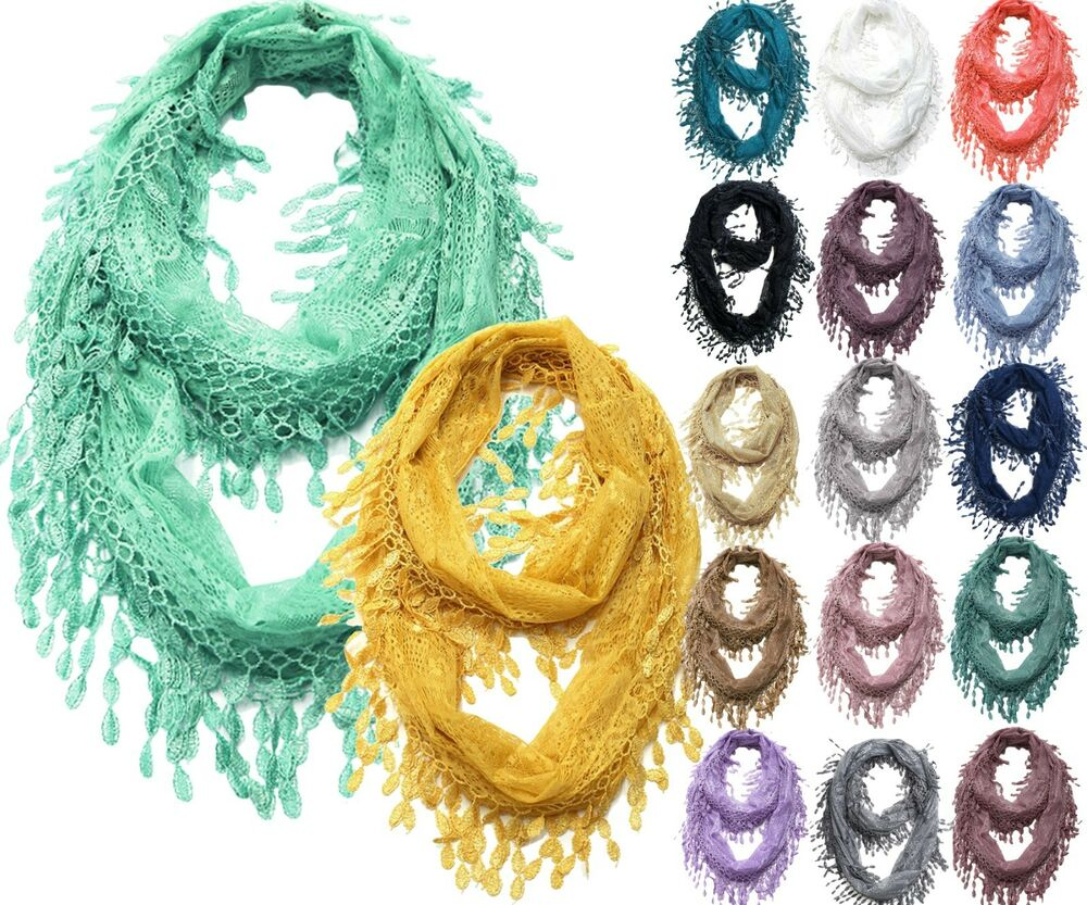 Lace Infinity Scarf With Long Fringe Ebay