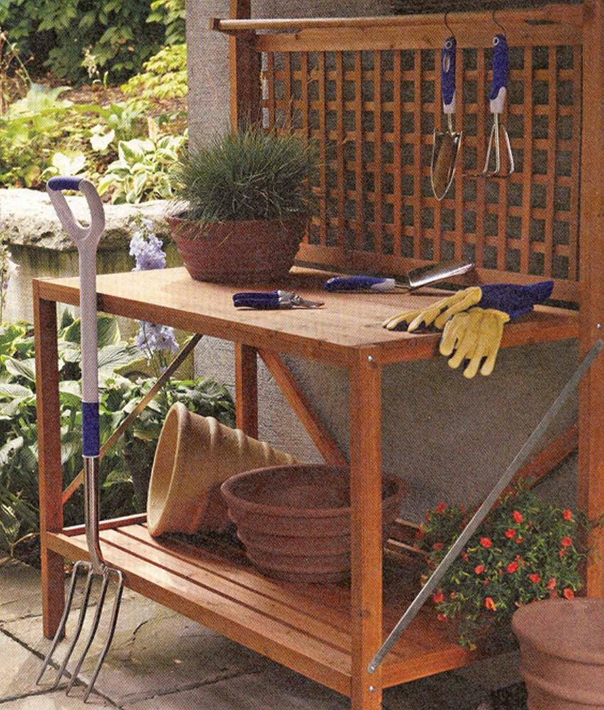 Merry products foldable wooden potting bench with storage - Potting bench with storage ...