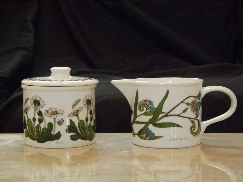Portmeirion Botanic Garden Covered Sugar Creamer Set 1972 Daisy Forget Me Not Ebay