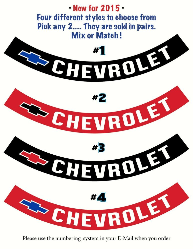 Chevrolet • AIR CLEANER DECALS / RIBBONS • FOUR Different