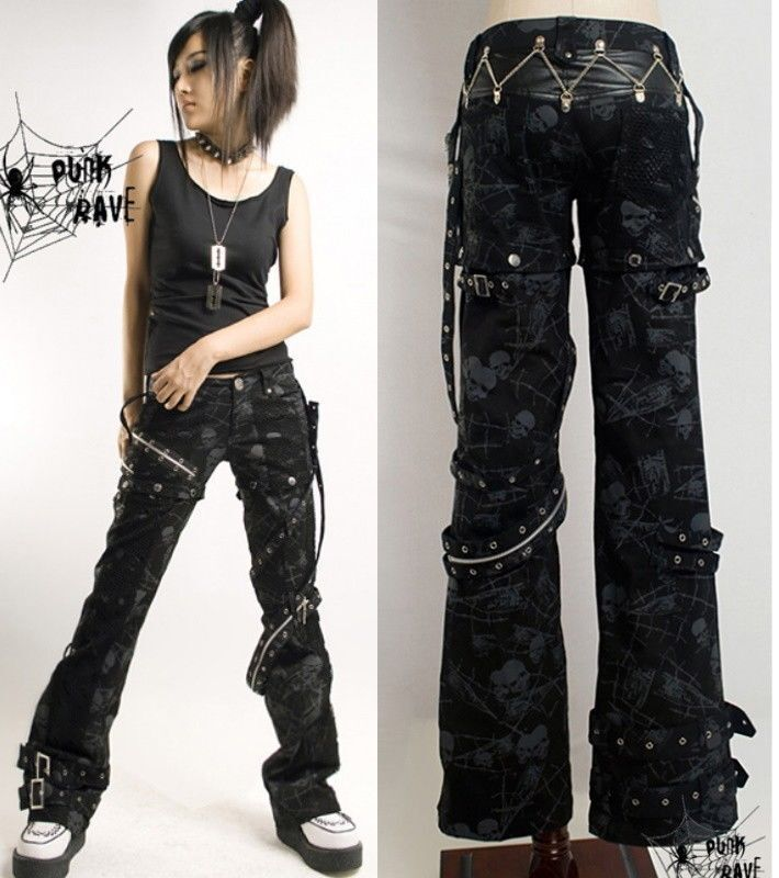 Lastest Banned Corset Skinny Jeans Black Stretch Pants Goth Punk Womens  EBay