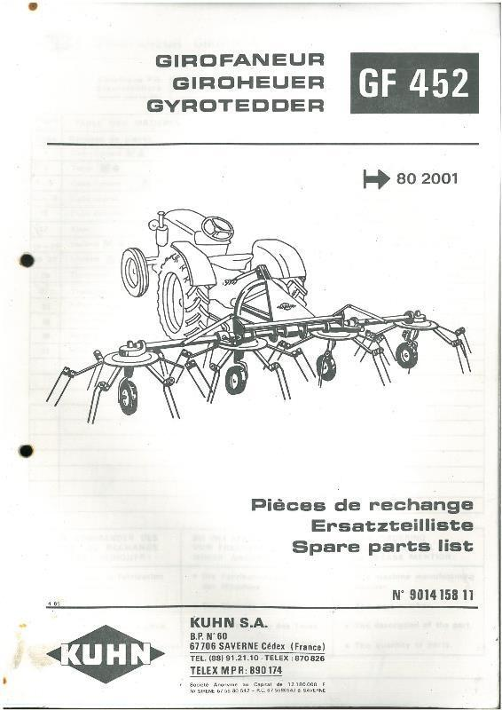 Kuhn 8501 Operators manual