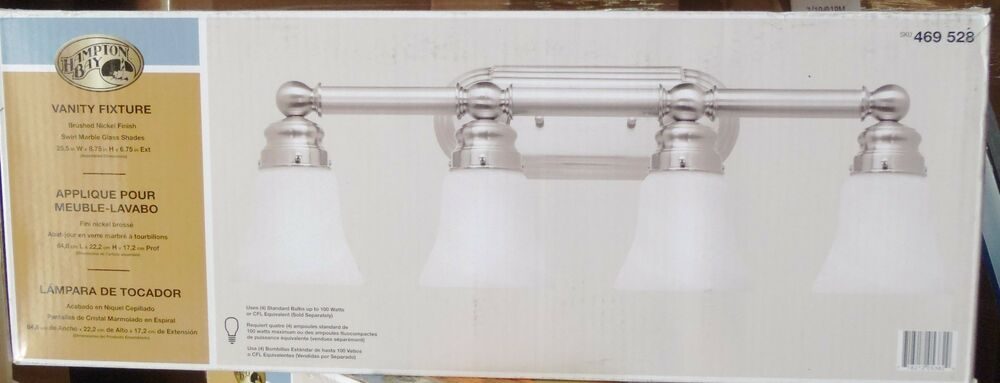 hampton bay 4 light brushed nickel bath light ebay
