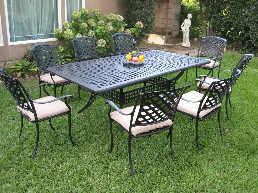 Outdoor cast aluminum patio furniture 9 piece dining set for Outdoor patio couch set