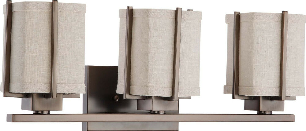 Vanity Light Fabric Shade : Hazel Bronze Energy Star 3 Light Vanity Bath Wall With Khaki Fabric Shade eBay