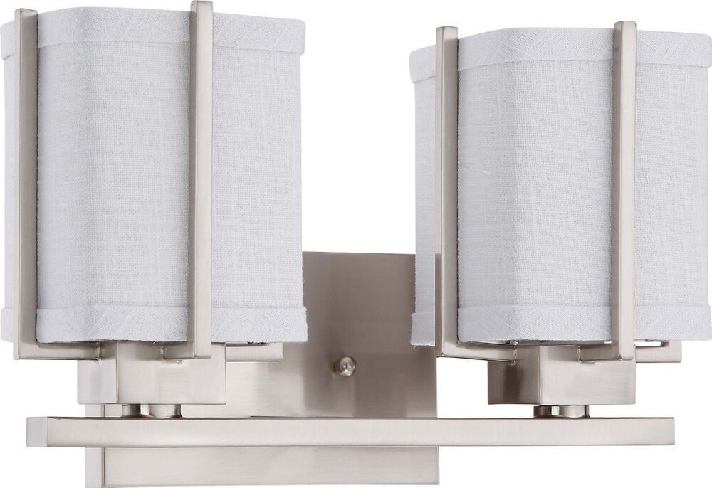Wall Lights With Grey Shades : Brushed Nickel Energy Star 2 Light Vanity Bath Wall With Gray Fabric Shade eBay