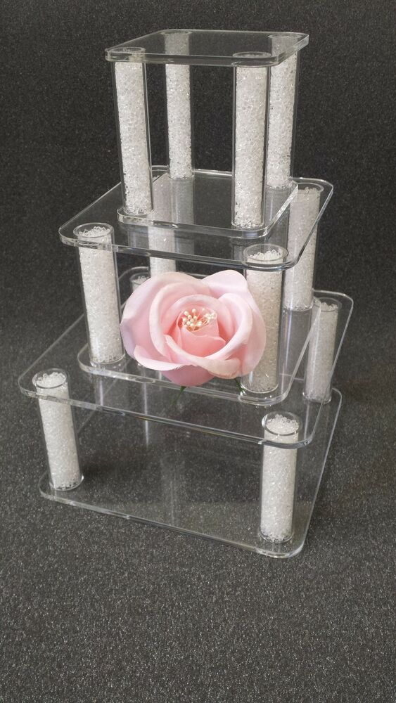 3 tier square wedding cake stands 3 set square acrylic cake separator cake topper for 3 4 10265