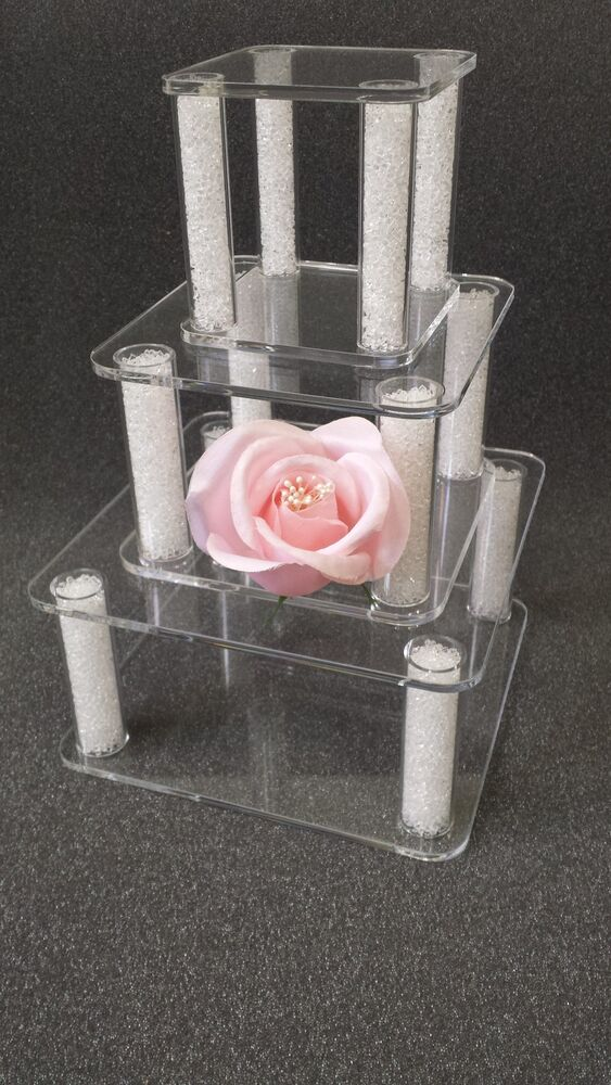square 3 tier wedding cake stand 3 set square acrylic cake separator cake topper for 3 4 20342