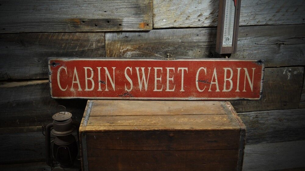 Cabin sweet cabin wood sign rustic hand made vintage for Cabin signs wood