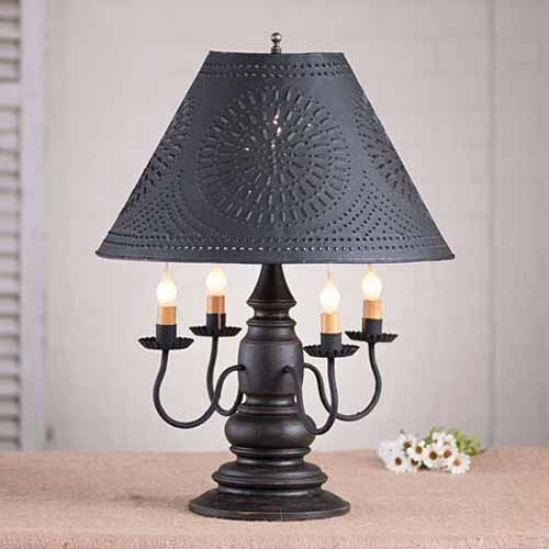 Harrison 4-arm Wooden Table Lamp W/ Tin Shade