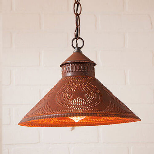 Stockbridge Shade Light In Rustic Tin W/ Stars By Irvins