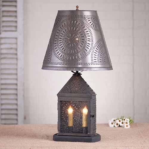 harbor table lamp w shade in blackened tin chisel primitive. Black Bedroom Furniture Sets. Home Design Ideas