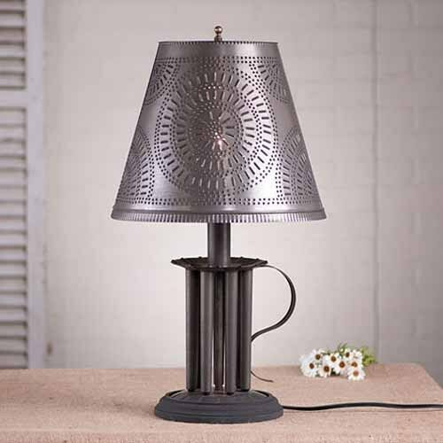 round seven mold table lamp w punched tin shade in black. Black Bedroom Furniture Sets. Home Design Ideas