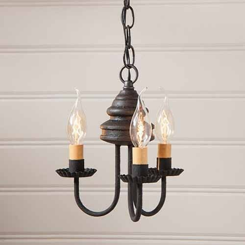 Bellview Small Three Arm Wooden Primitive Chandelier Light
