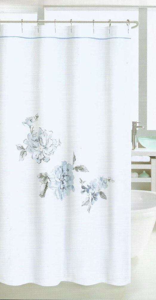 ... Embroidered Large Floral Blue Grey White Fabric Shower Curtain | eBay