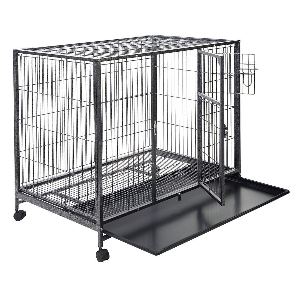 43 Quot Large Dog Kennel W Wheels Portable Pet Puppy Carrier
