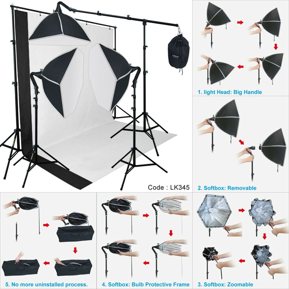 photography studio lighting softbox photo light muslin. Black Bedroom Furniture Sets. Home Design Ideas