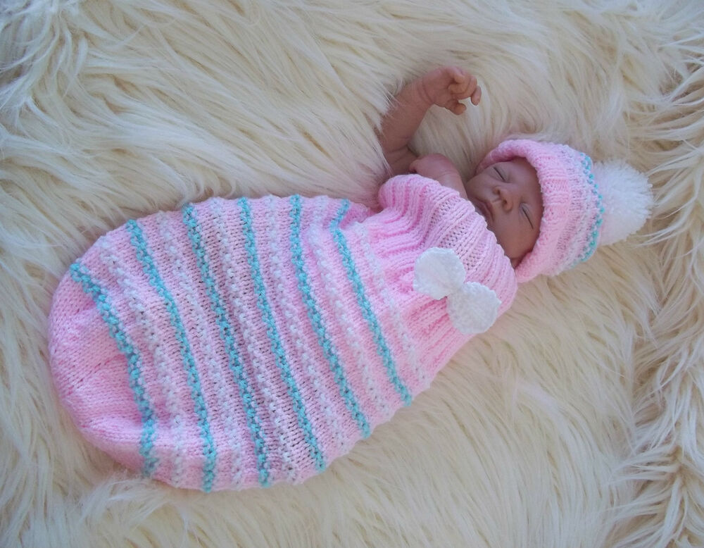 Free Knitting Pattern Baby Cocoon And Hat : Aran Knitting Pattern47 TO KNIT Cocoon & Hat Set Baby Boys Girls or Rebor...