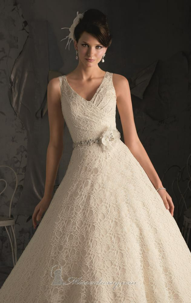 Mori lee lace ivory wedding dress ebay for Wedding dress in ebay