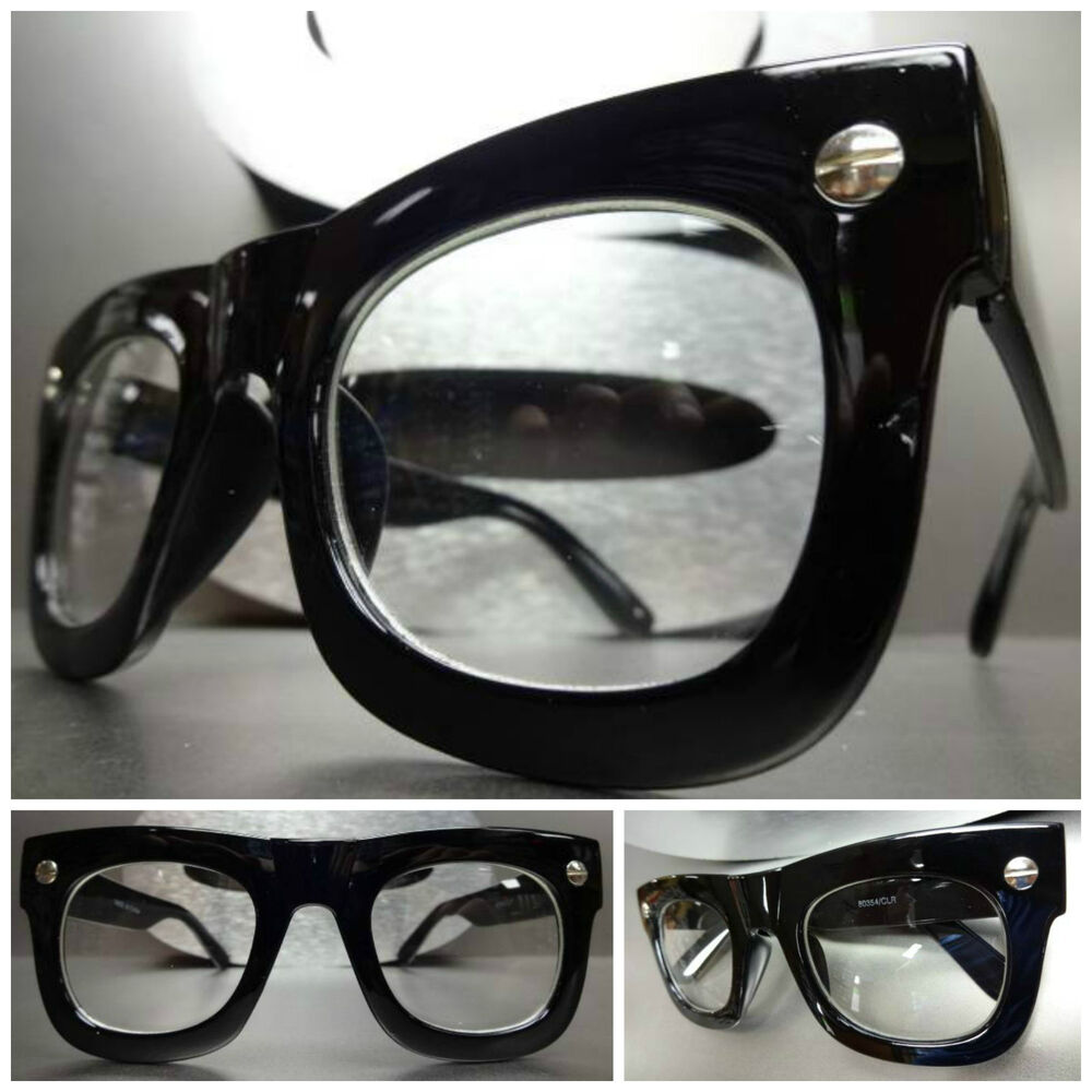 Black Frame Glasses Images : Mens Women VINTAGE RETRO Style Clear Lens EYE GLASSES ...