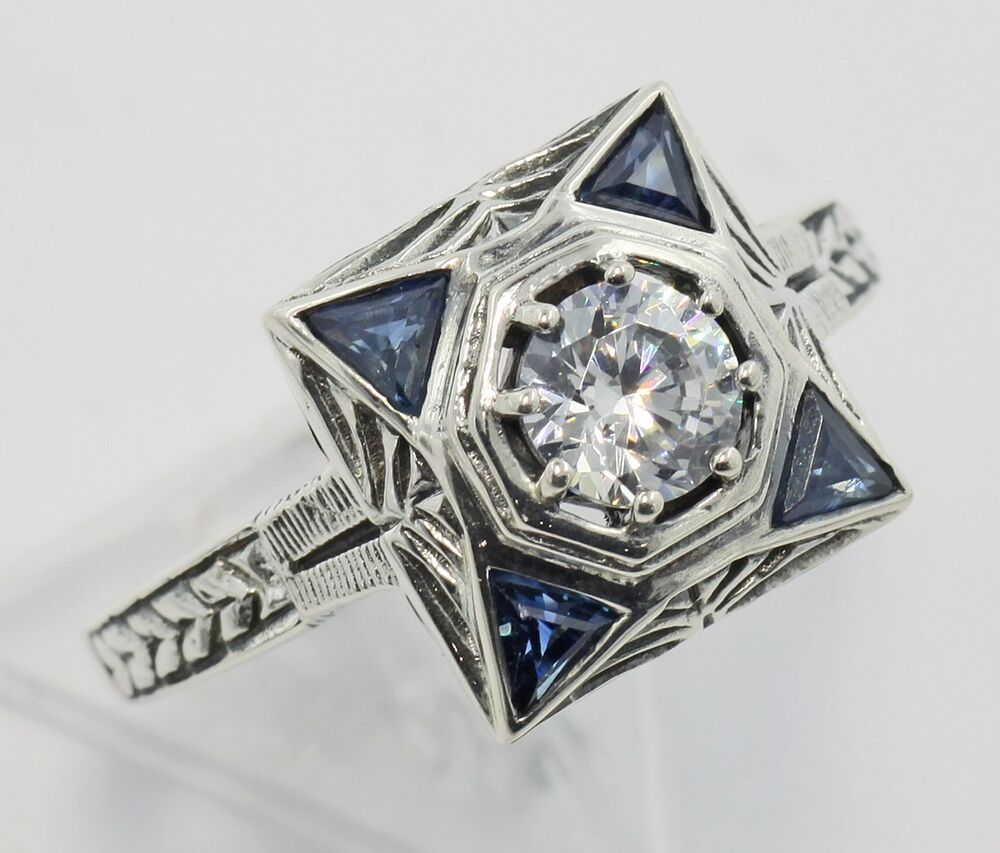 Art Deco Style Cubic Zirconia Filigree Ring With Sapphire