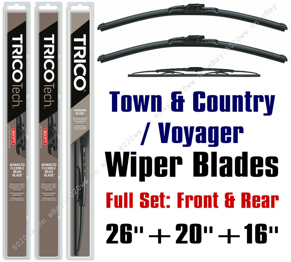 "Chrysler Town & Country 2010-2016 Wiper Blades 3pk 26""+20"
