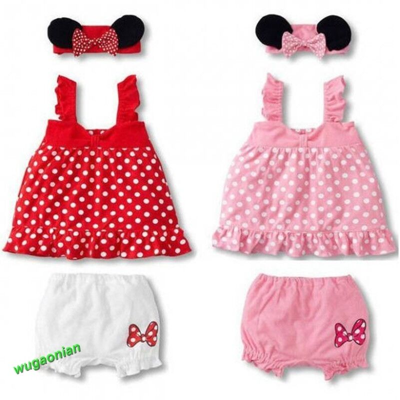 3 Pcs Girls Baby Infant Headband Top Pants Bloomers T