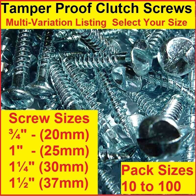Clutch Head Tamperproof Security Screws All Sizes Pack