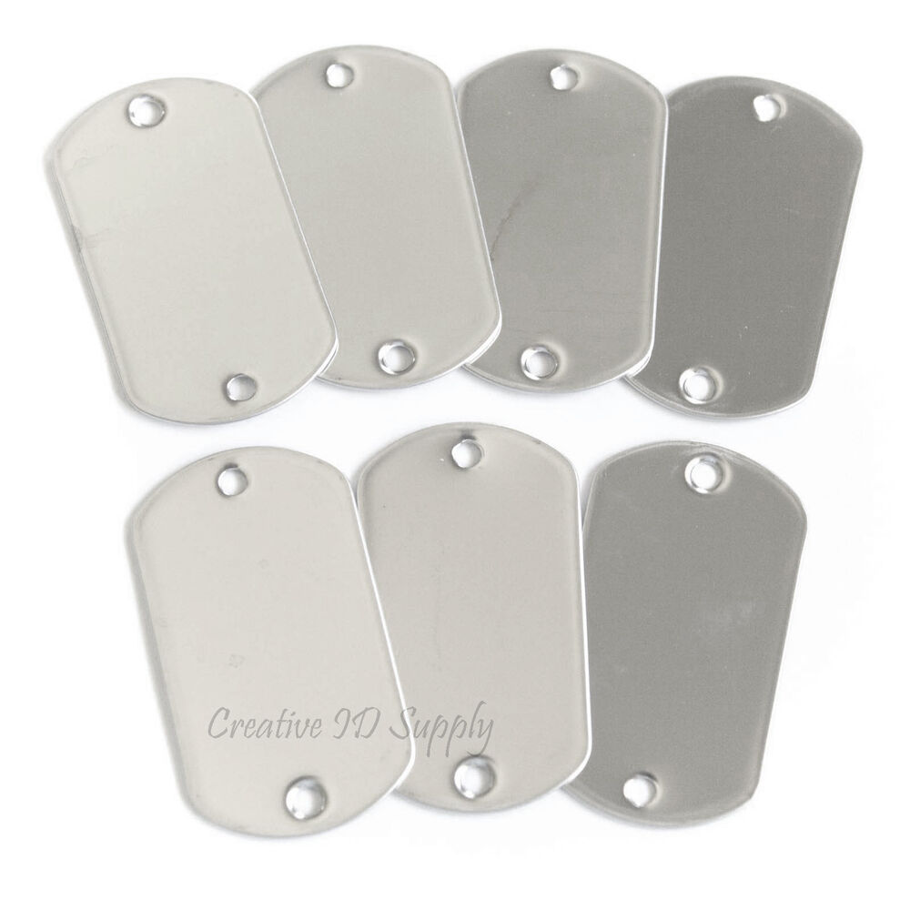 WHOLESALE 10 25 50 100 TWO HOLE BLANK DOG TAG STAINLESS