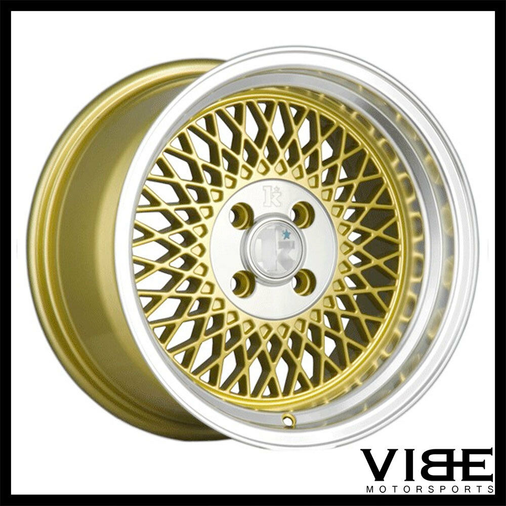 "15"" KLUTCH SL-1 15X8.5 4X100 ET17 GOLD MESH WHEELS RIMS"