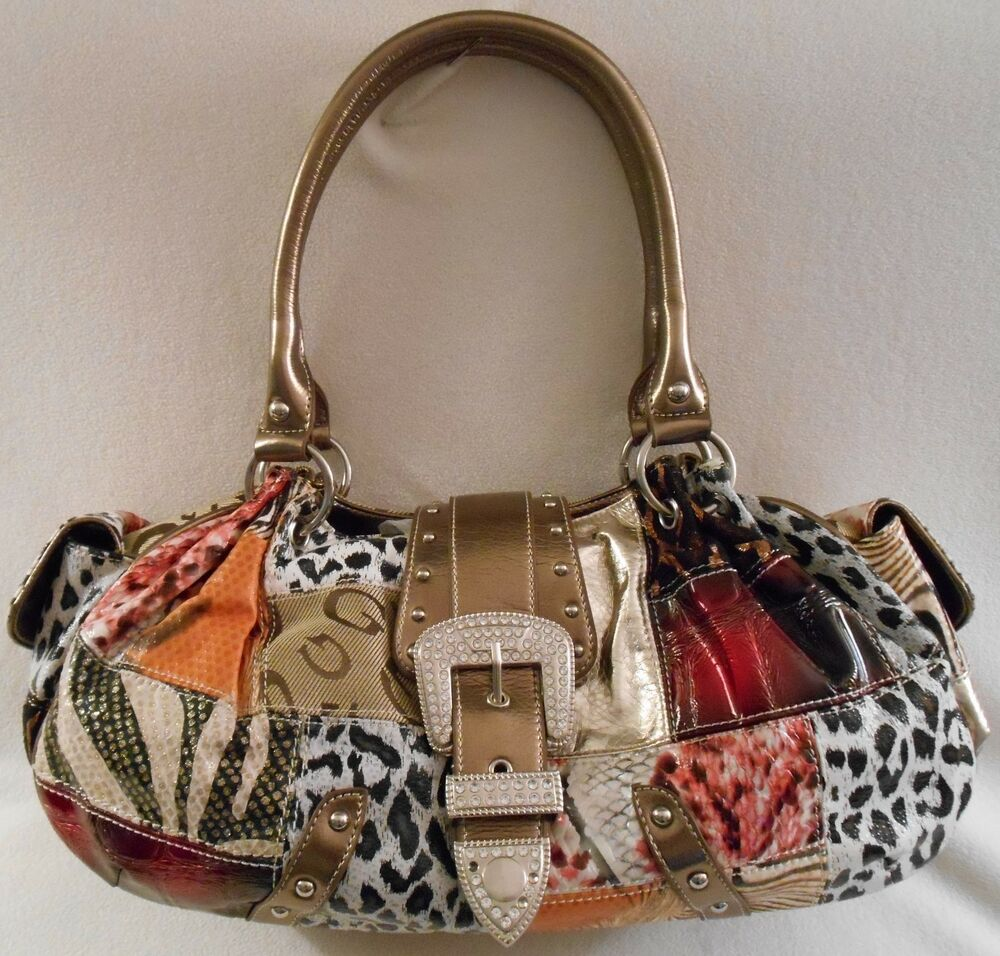 Gg Ing Patchwork Organizing Shoulder Bag Purse In Black Or Metallic Tan Trim Ebay