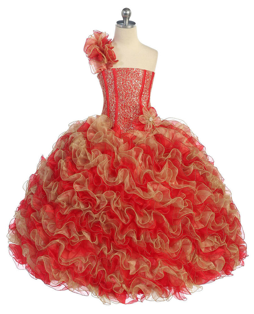 New Girl Glitz Pageant Party Wedding Ruffled Dress Bolero ...